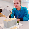 THB photo/John P. Cleary<br /> Civil Engineering and Architecture class at Pendleton Hts. High School.  Lucas Collett his 3-D model of his design he came up with for a class project.