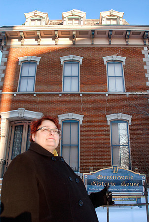 "THB photo/John P. Cleary<br /> Nicole Kobrowski, author of the book ""Ghosts of Madison County, Indiana,"" is pictured in front of the Gruenewald Historic House in Anderson, one of the places that she writes about in her book."