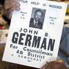 Don Knight / The Herald Bulletin<br /> John German holds the campaign poster from his run for the Anderson Common Council in 1976. German was the first African American elected to the council.