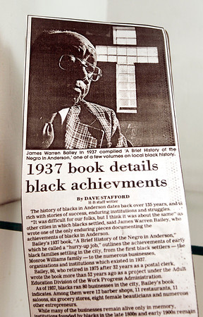 THB photo/John P. Cleary<br /> Newspaper clippings that show significant local history are on display at Madison County Historical Society's Black History Month exhibit.