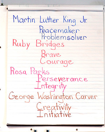 THB photo/John P. Cleary<br /> Carlynn Malone teaches about black history in her Valley Grove 2nd grade class.  Her focus is on character building and uses stories about individuals and their character.  This is a list of some of the individuals that the class is studying.