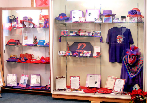 THB photo/John P. Cleary<br /> This is the display from the local black chapter of the Red Hat Society in the Black History Month exhibit.