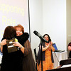 "Don Knight / The Herald Bulletin<br /> Karen Sipes, left, hugs Gretchen Baldwin after Baldwin was named best Actress in a Supporting Role during Mainstage Theatre's ""2014 Star Night"" at The Edge on Saturday."