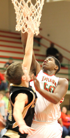 Photo by Chris Martin for THB<br /> Anderson's Kobe Clay goes for a layup Tuesday night against Lebanon