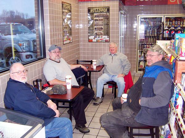 Ken de la Bastide / The Herald Bulletin<br /> From left, Donald Bennett, John Lloyd, Kent Williams and David Musselman regulars at the Rickers in Lapel.