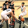 Photo by Chris Martin<br /> Lapel's Daniele Burnell and Samantha Kern fight for a loose ball Monday night against Wapahani.