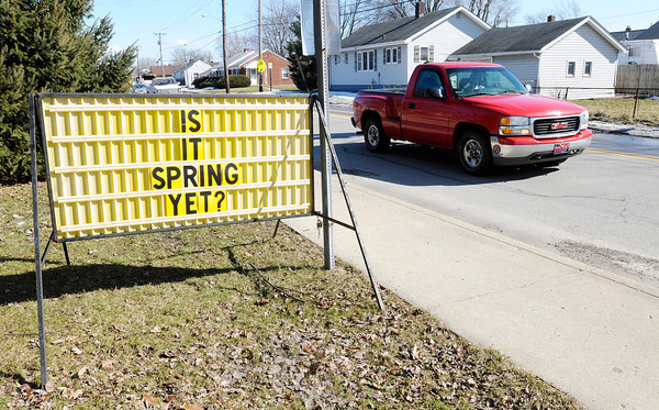 """Don Knight / The Herald Bulletin<br /> This sign on 29th Street in front of St. Ambrose asks """"Is it Spring yet."""" With the polar vortex forecast to return next week it looks like the answer is not yet."""