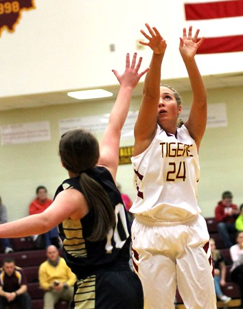 Chris Martin for The Herald Bulletin<br /> Taylor Jones takes a jump shot for the Lady Tigers in a home game against Madison-Grant Thursday night