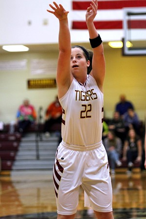 Chris Martin for The Herald Bulletin<br /> Blaine Kelly takes a free throw for the Lady Tigers Thursday night in a home game against Madison-Grant