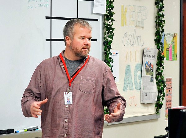 John P. Cleary |  The Herald Bulletin<br /> Andy McCammon teaches an agriculture class at Highland Middle School. This is the first year for the program and even allows eighth-graders to receive high school credit.