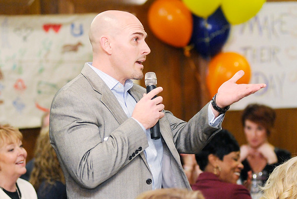 Don Knight | The Herald Bulletin<br /> Alexandria-Monroe High School principal Tom Johns shares what he learned from a survey given to his staff as part of a Leadership Academy exercise and how he changed his leadership style as a result during the Academy's graduation dinner at the Anderson Country Club on Thursday.