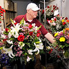 John P. Cleary |  The Herald Bulletin<br /> Toles Flowers floral designer David Schwartz puts finished arrangements into the cooler Monday as they fill orders for Valentine's Day trying to stay ahead of the rush.