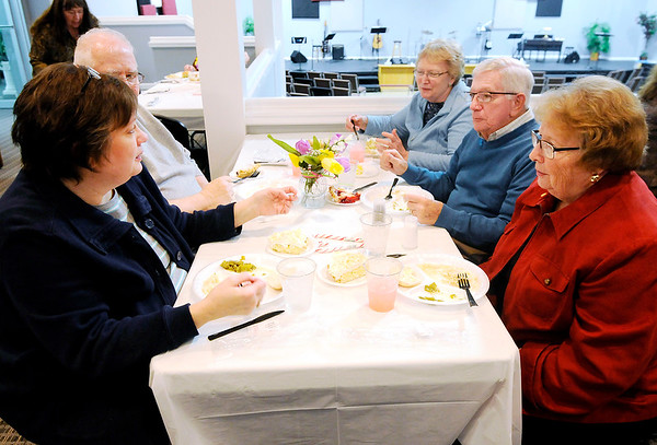 Don Knight | The Herald Bulletin<br /> Clockwise from left, Diane and Jack Mendenhall, JoAnn Fryback, Ron and Joyce Nunley enjoy a meal for Lapel Food Pantry volunteers at Daybreak Community Church on Wednesday.