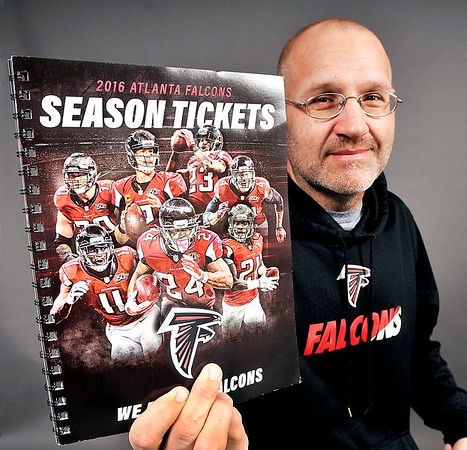 John P. Cleary |  The Herald Bulletin<br /> Anderson resident David Sink is a big Atlanta Falcons fan and has been a season ticket holder since 1995.
