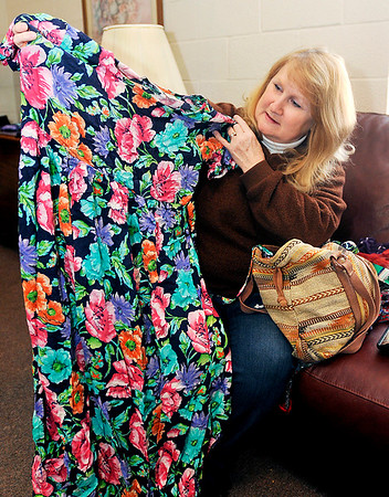 John P. Cleary |  The Herald Bulletin<br /> Karen Hunter will have a one-woman show at Commons Theatre as her character, Eula Mae Ledbetter. Here Hunter shows off Eula Mae's dress she wears for the show.