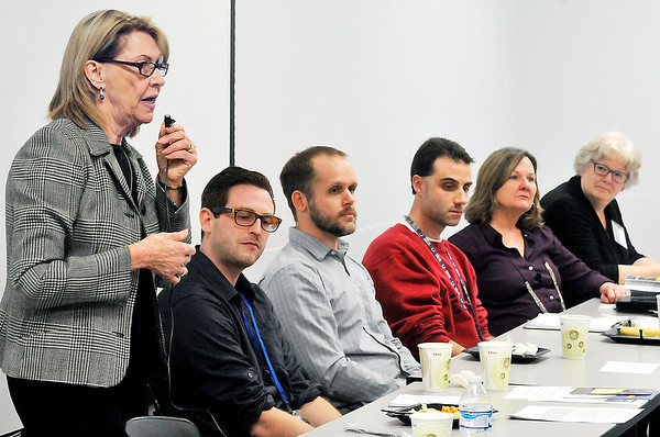 John P. Cleary |  The Herald Bulletin<br /> Dr. Sharon McNeany, director of integrated behavioral health at the Jane Pauley Community Health Center, moderated the panel discussion on youth mental health issues that was hosted by the Indiana Youth Institute Tuesday.