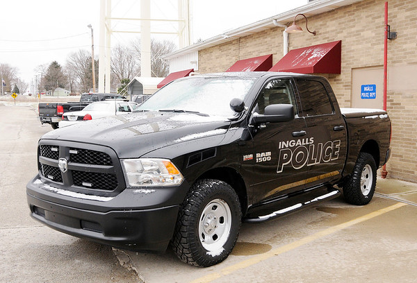 Don Knight | The Herald Bulletin<br /> A Dodge Ram pickup truck sits in front of the Ingalls Police Department on Saturday.