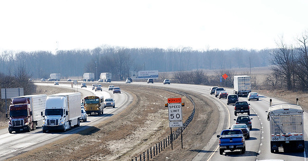 Don Knight   The Herald Bulletin<br /> Traffic travels on Interstate 69 between Pendleton and Anderson on Friday. The Indiana Department of Transportation is extending work on the adding of a third travel lane in each direction to just north of Exit 222, the first Anderson exit.