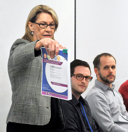 John P. Cleary    The Herald Bulletin<br /> Dr. Sharon McNeany, director of integrated behavioral health at the Jane Pauley Community Health Center, moderated the panel discussion on youth mental health issues that was hosted by the Indiana Youth Institute Tuesday.