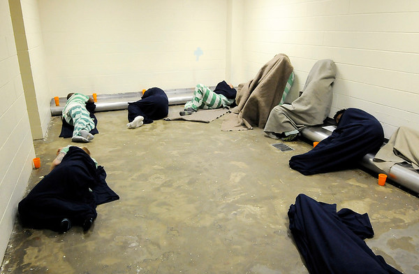 Don Knight | The Herald Bulletin<br /> The detox holding area for male inmates had nine occupants on Thursday. Madison county saw a 41 percent increase in felony charges filed in 2016.