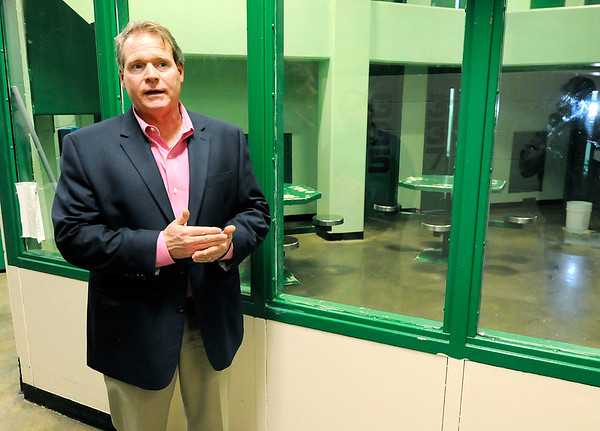 Don Knight | The Herald Bulletin<br /> Major Joey Cole talks about the county's drug epidemic that has resulted in a record number of felony charges and a population near 300 in the county jail that was designed to house 207. Inmates were on lockdown at the time the photo was taken.