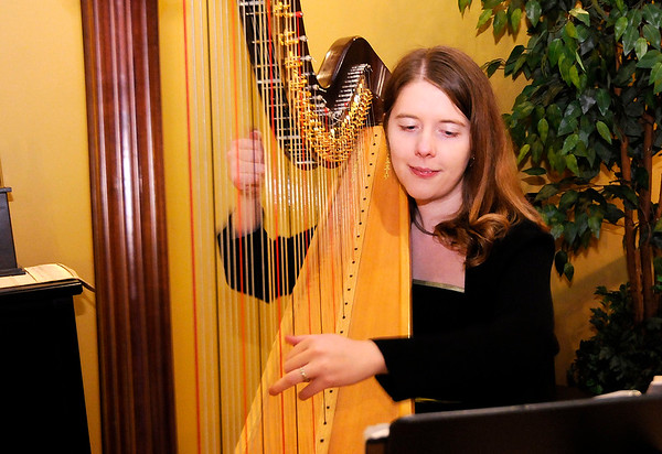 Don Knight | The Herald Bulletin<br /> Harpist Emily Goins performs during Anderson Symphony Orchestra's third annual Chocolate and Wine Tasting fundraiser held at the Laura Sandlin Agency on Saturday. The event is a fundraiser for ASO.