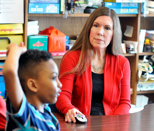 John P. Cleary    The Herald Bulletin<br /> Eastside Elementary School speech therapist Sharon Turner works with one of her students. Turner was named a finalist in Madison County Chamber's Best of the Best.