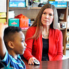 John P. Cleary |  The Herald Bulletin<br /> Eastside Elementary School speech therapist Sharon Turner works with one of her students. Turner was named a finalist in Madison County Chamber's Best of the Best.