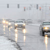 Don Knight | The Herald Bulletin<br /> Traffic travels south on Scatterfield as snow began falling Wednesday afternoon.