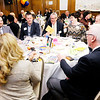"Don Knight | The Herald Bulletin<br /> Leadership Academy of Madison County graduate Mark Elliott talks about ""FISH! Philosophy"" during a round table discussion at the Academy's graduation dinner at the Anderson Country Club on Thursday."