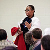 Mark Maynard | For The Herald Bulletin<br /> Monica James of Muncie tells the crowd about the concerns she addressed with U.S. Representative Susan Brooks on Saturday.