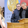 Don Knight | The Herald Bulletin<br /> From left, students Aubrey Cast, Madelynn Baker and Cameron Lewis present Florida Station Church of God Pastor Jerry Hilligoss with a Jefferson Award during a banquet at Frankton High School on Thursday.