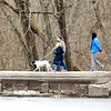 John P. Cleary |  The Herald Bulletin<br /> With temperatures reaching into the 50's, it was a good time to take a family walk with the dog around the trials at Shadyside Park Monday afternoon. Temperatures are forecast to be even warmer Tuesday but with chance of thunderstorms before turning colder and a chance of snow.