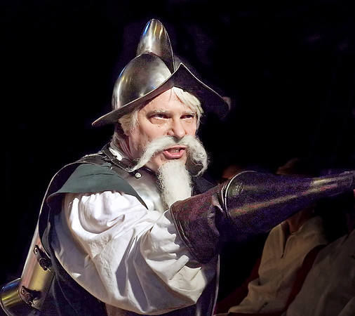 """Mark Maynard   for The Herald Bulletin<br /> Dr. Jay Wile is very convincing in his role as MIguel de Cervantes/Don Quixote/Alonso Quijana in """"Man of La Mancha"""" presented by the Alley Theatre."""