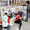 Don Knight | The Herald Bulletin<br /> Anderson High School students work on their Rube Goldberg machine after school on Thursday. Students recently won the annual Purdue regional Rube Goldberg Machine Contest Saturday in West Lafayette.