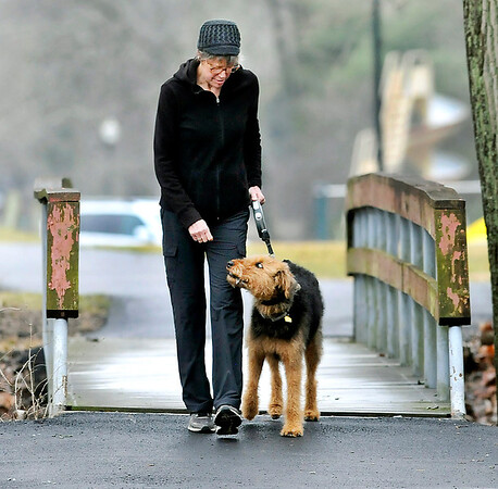 John P. Cleary | The Herald Bulletin<br /> Pam Farmen takes advantage of the warm temperatures, and break in the rain, to take Lexi, her 19 month old Airdale Terrier, a walk around Shadyside Lake Monday afternoon holding treats in her hand to keep Lexi moving along.
