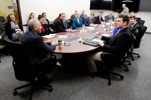 Don Knight | The Herald Bulletin<br /> Political science major Garrett Henderson asks Matthew G. Olsen, former director of the National Counterterrorism Center, a question in Anderson University's new Situation Room on Wednesday.
