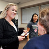 John P. Cleary | The Herald Bulletin<br /> Primrose Retirement Communities observed Random Acts of Kindness Day by handing out gift cards and hand sanitizer pens to students at Ivy Tech at the 53rd Street campus Thursday. Dental hygiene student Rachael Holmes smiles and thanks Mary Brennan, Primrose resident, for giving her a gift for Random Acts of Kindness Day.