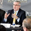 John P. Cleary | The Herald Bulletin<br /> Indiana Gov. Eric Holcomb took part in a roundtable discussion on workforce development with local officials, education and business leaders Monday afternoon held at Purdue Polytechnic.