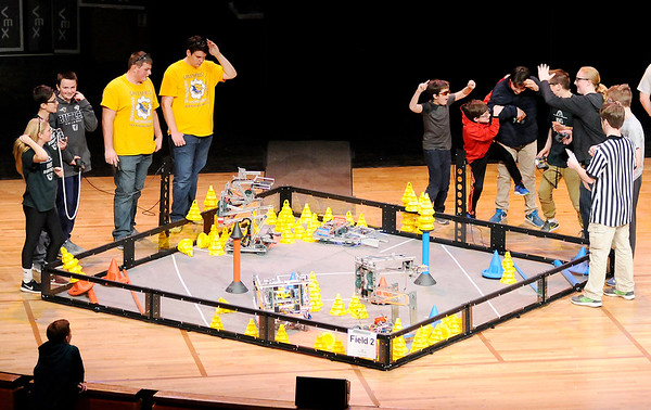 Don Knight | The Herald Bulletin<br /> A team reacts after realizing they won a qualifying round during a VEX Robotics competition hosted by Anderson University's Science and Engineering on Saturday.