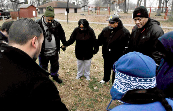 John P. Cleary | The Herald Bulletin<br /> A newly formed group working to end gun violence in the city hosted a walk through the west side Saturday to raise awareness. The Anderson Initiative Against Gun Violence started their walk with a prayer at Jackson Park.