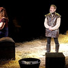 "Mark Maynard | for The Herald Bulletin<br /> As the Padre (Ralph Sipes) sings ""To Each His Dulcinea,"" Aldonza (Natalie Gamble) ponders her life, while Don Quixote (Dr. Jay Wile) keeps his all-night vigil."