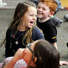 John P. Cleary | The Herald Bulletin<br /> Maggie Henning, of Edgewood, as a laugh during an learning exercise in Zach Fuqua's kindergarten class at Lapel Elementary School Monday.