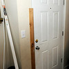 Don Knight | The Herald Bulletin<br /> Police damaged both doors into Frannie Steen's apartment at The Courtyard Apartments last Thursday. Now she is wondering when and who will make the repairs.