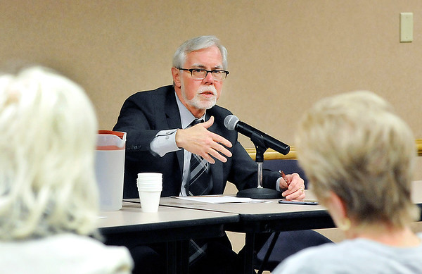 John P. Cleary | The Herald Bulletin<br /> Senator Tim Lanane speaks at the Third House Legislative session Monday evening at the Anderson Public Library.