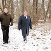 Don Knight | The Herald Bulletin<br /> Alexandria Mayor Ron Richardson and Economic Development Director Warren Brown walk through a property the city would like to convert into a nature park.