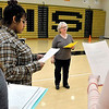 John P. Cleary | The Herald Bulletin<br /> Madison-Grant High School Spanish teacher Pam Richards works with her fourth-year Spanish class as they rehearse short Fairy Tail plays, all in Spanish, that they will present to elementary students as a class project.