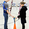 Don Knight | The Herald Bulletin<br /> From left, Halieann Schroeder and Madsyn Shelton take an arrow during archery practice at APA on Tuesday.