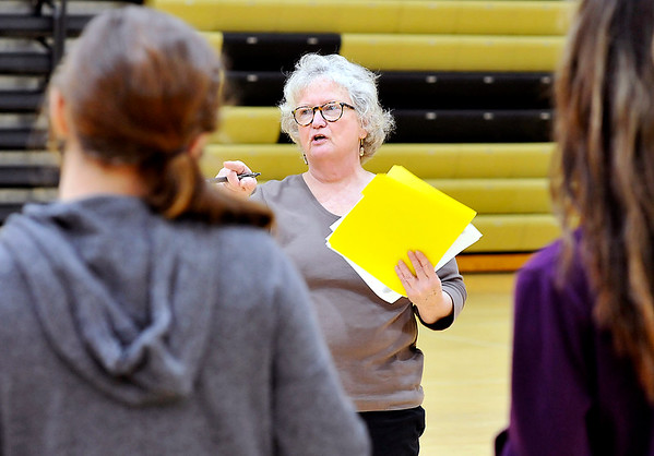 John P. Cleary | The Herald Bulletin<br /> Madison-Grant High School Spanish teacher Pam Richards gives directions to her fourth-year Spanish class as they rehearse short Fairy Tail plays, all in Spanish, that they will present to elementary students as a class project.
