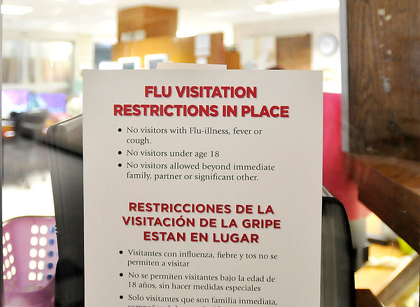 John P. Cleary | The Herald Bulletin<br /> Flu restriction signs like this are placed throughout St. Vincent Anderson.